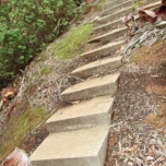 Stairs down the 45% slope