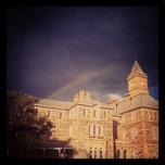 A rainbow over the building