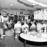 P 37, 1963 Nov 13, Male No 6 Workshop interior, Retarded patients attending a percussion session
