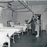 P 38, 1969, Hospital Ward womewns section, Dr D Dracup & Sr L Mahney doing a round