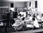 P 55, 1963 Nov 13, Nurses Training School over No 2 Fe Dining Room, Sr Phyl Wilson instructing