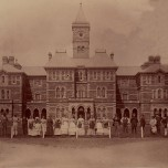 P 60, 1888, Admin Building, W Aspect incl staff & some patients