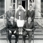 P 63, 1970, Snr Admin Staff in front of Admin Bldg, Back Row A Warren AChief Male Nse, NM Birch M