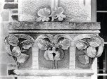 P Inner front cover,Stonework Detail Entrance Porch W aspect closeup carved outer stonework pill